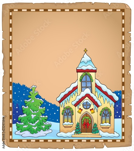 Papiers peints Enfants Christmas church building parchment 2