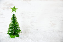 Green Christmas Tree, Star, Snow, Copy Space
