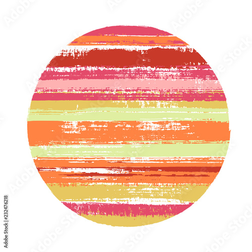 Fototapeta Abstract circle vector geometric shape with stripes texture of ink horizontal lines. Old paint texture disc. Label round shape logotype circle with grunge stripes background. obraz na płótnie