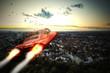 Luft-Taxi fliegt in den Sonnenuntergang