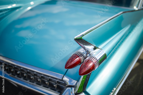 Detail of oldtimer, turquoise Cadillac
