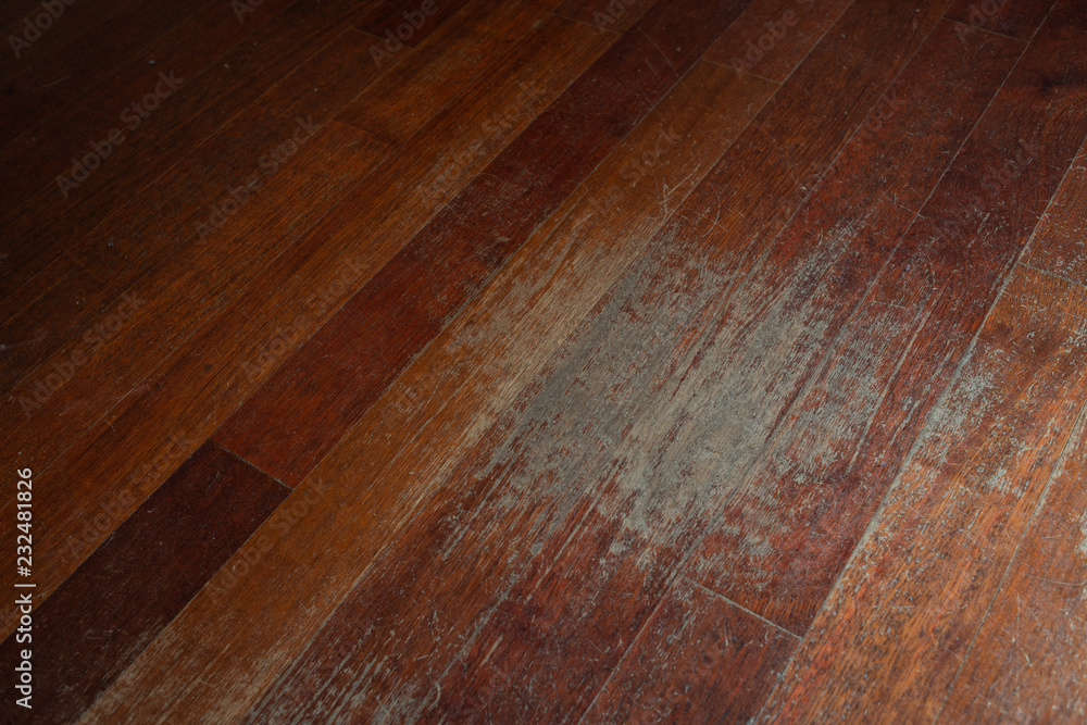 Fototapety, obrazy: Old scratched hardwood flooring in need of maintenance. parquet ruined by scratches made by prolonged use of chair.