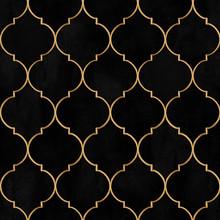 Velvet Black Watercolor Moroccan Vintage Decorative Seamless Pattern