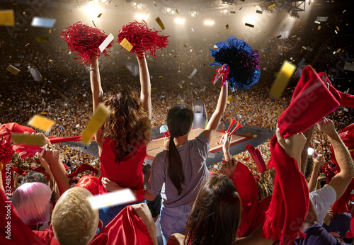 Young Sport Supporter Happy Fans At Basketball Arena Two Beautiful