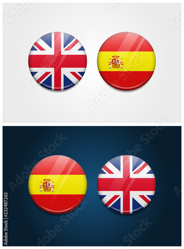 Fotografía  United Kingdom and Spain Round Flags