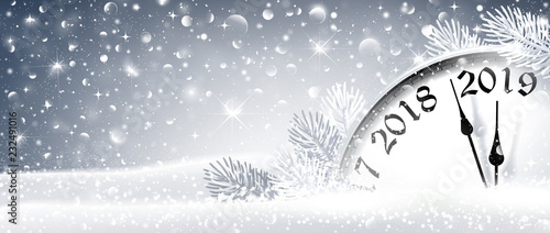 Staande foto Wanddecoratie met eigen foto New Year's Eve 2019 Winter Celebration With Dial Clock. Vector Illustration