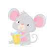 Cute little mouse sitting and drinking tasty orange juice. Adorable creature. Cartoon character. Flat vector icon