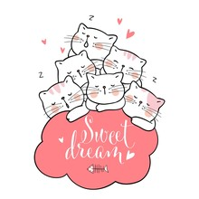 Draw Cat Sleep With Pink Cloud And Word Sweet Dream