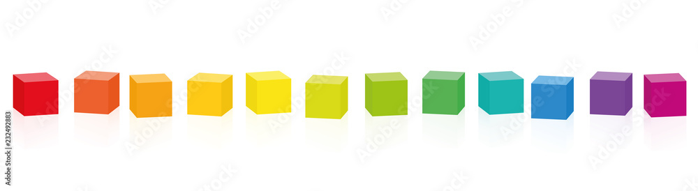 Fototapety, obrazy: Colorful cubes. Set of 14 rainbow colored cubes in a row. Isolated vector illustration on white background.