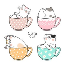 Draw Cute Cat Sleeping In Cup ...
