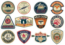 Cute Vector Collection Of Mountain Camp And Wildlife Adventure Badges For Children Wear Print Or Embroidery