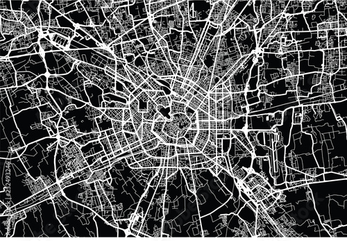 Fotografie, Tablou Urban vector city map of Milan, Italy
