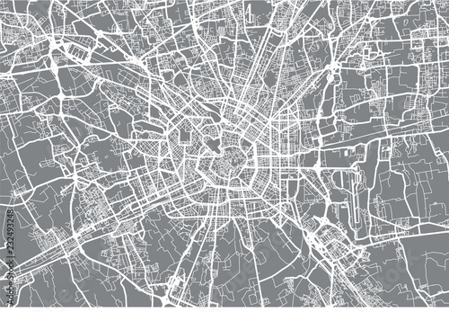 Urban vector city map of Milan, Italy Wallpaper Mural