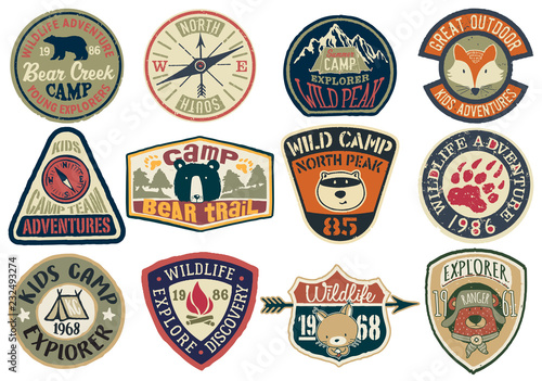 Obraz Cute vector collection of mountain camp and wildlife adventure badges for children wear print or embroidery - fototapety do salonu