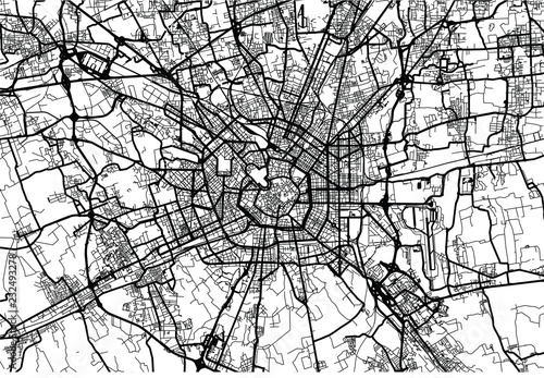 Fotomural Urban vector city map of Milan, Italy