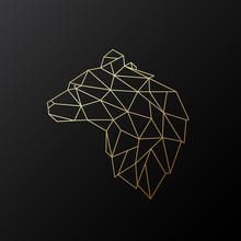 Golden Polygonal Bear Illustra...