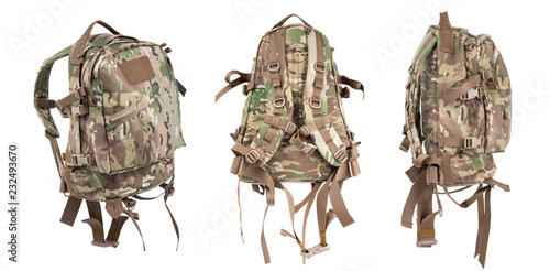 Valokuva  tactical backpack isolate on white
