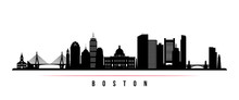 Boston City Skyline Horizontal Banner. Black And White Silhouette Of Boston City, USA. Vector Template For Your Design.