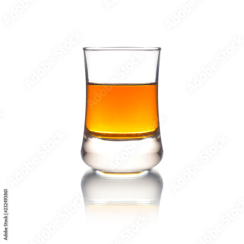 Foto auf Leinwand Alkohol Cocktail Glass with brandy or whiskey - Small Shot. Isolated on white background