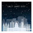 Winter night in Salt lake city. Night city in flat style for banner, poster, illustration, background.