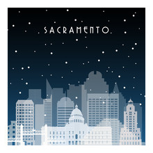 Winter Night In Sacramento. Night City In Flat Style For Banner, Poster, Illustration, Background.
