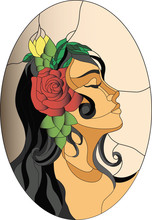 Spanish Girl Face Stained Glass Pattern