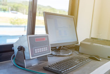 Truck Weight Scales Equipment And Monitor At Office Weigh Station