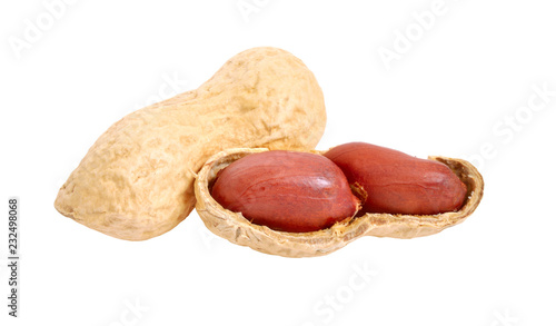 Foto op Canvas Kruiderij Peanuts close up. Isolated on white background. Full depth of field