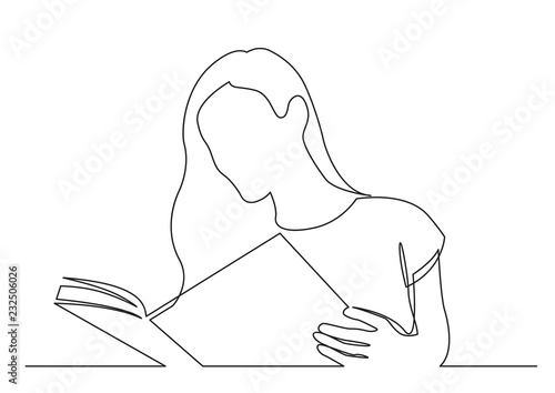 Obraz na plátně continuous line drawing of long hair woman reading book