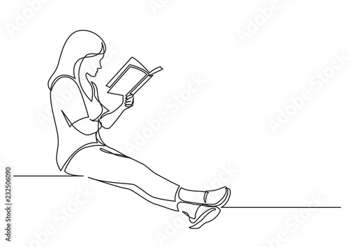 continuous line drawing of sitting concentrated woman reading interesting book Fototapeta