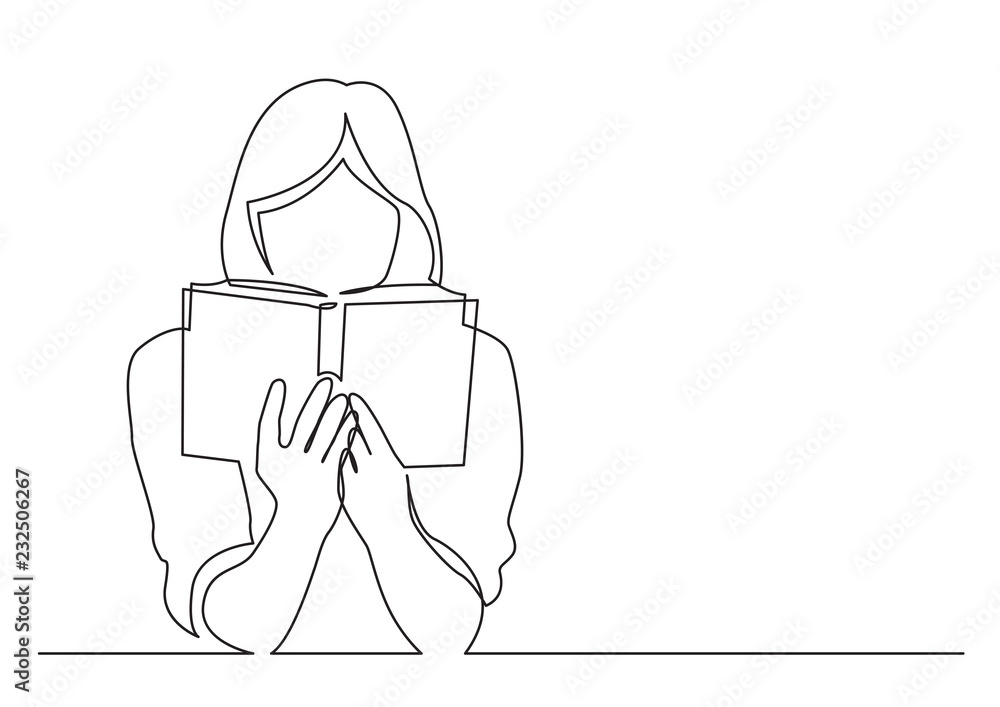 Fototapeta continuous line drawing of woman focused on reading interesting book
