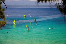 Windsurfers On Water Of Bol Gulf Brac Island, Adriatic Sea, Croatia
