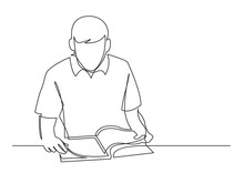 Continuous Line Drawing Of Young Man Reading Book