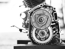 Motorcycle Engine. White And Black Patterns.