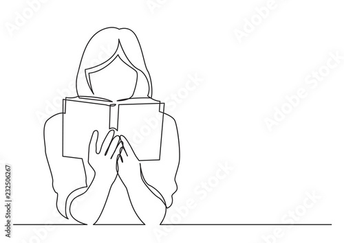 Valokuva continuous line drawing of woman focused on reading interesting book