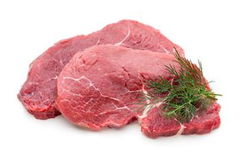 Fototapeta Fresh raw beef steak isolated on white.