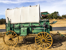 Vintage Covered Wooden Wagon