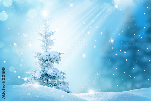 Foto op Aluminium Blauw Winter background .Merry Christmas and happy New Year greeting card with copy-space. Christmas landscape with snow and fir tree