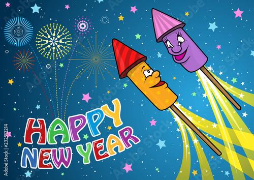 Happy New Year Background with Cartoon Firework Rockets - Cheerful Festive Child Canvas-taulu