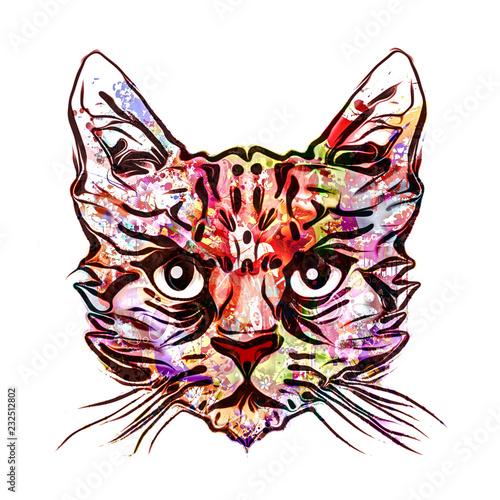 графическая татуировка кота