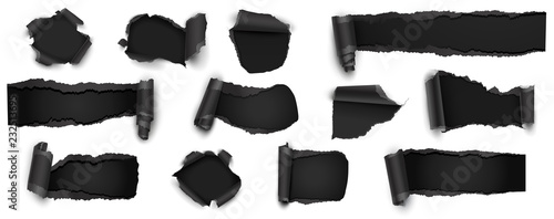 Fotografía Collection of Torn Black Paper Isolated on White