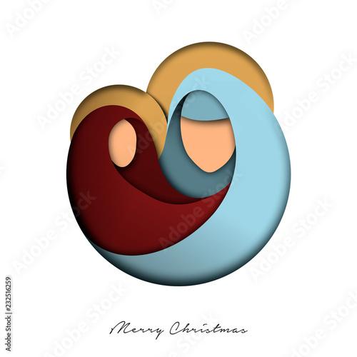 Carta da parati Christmas paper cut card of jesus and holy family