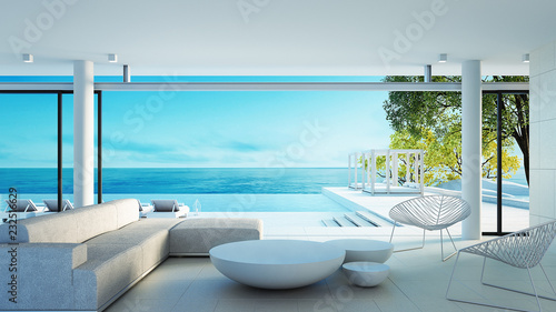 Obraz Beach living on Sea view - perfect living / 3d rendering - fototapety do salonu