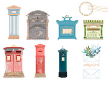 Victorian Pillar Box, UK, Spain, Italy, Germany, Japan Mail. Post And Dove Peace And Love