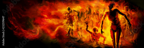 Zombies in fire banner Fotobehang