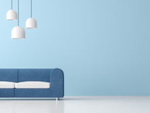Minimal Style Living Room Interior 3d Render,There Are White Floor ,light Blue Empty Wall,decorate With White Hanging Lamp,Furnished With Blue Fabric Furniture.