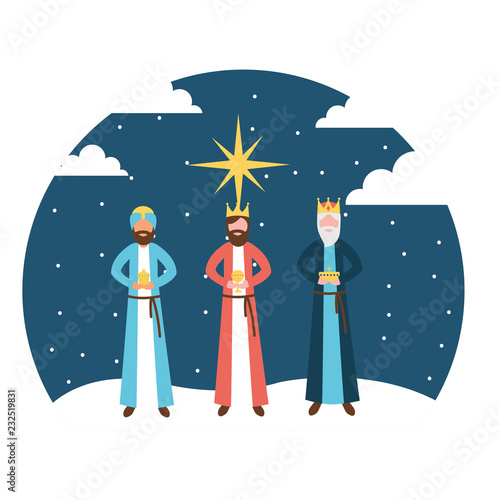 Canvastavla wise men king epiphany in the night