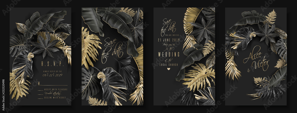 Fototapety, obrazy: Tropical leaves black and gold wedding cards