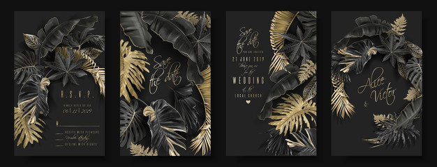 Tropical leaves black and gold wedding cards