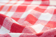 Red And White Checkered Creased  Kitchen Towel Background